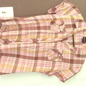 Pink and brown short sleeve button up